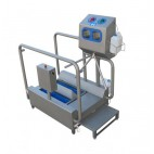 Low-heeled shoe washer and hand disinfection unit