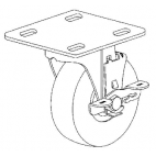 "Caster - Swivel 5"" Wheel With Lock and Mounting Plate"