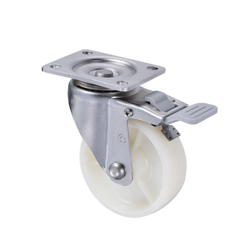 "4"" Stainless Steel Caster with White Nylon Wheel"