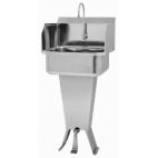 Pedestal Sink with Single Foot Pedal and Side Splashes