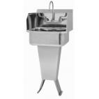 Pedestal Manual Sink with Side Splashes
