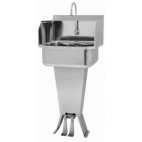 Padestal Sink with Double Foot Pedal and Side Splashes