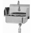 Wall Mount Sink with Single Knee Valve and Side Splashes