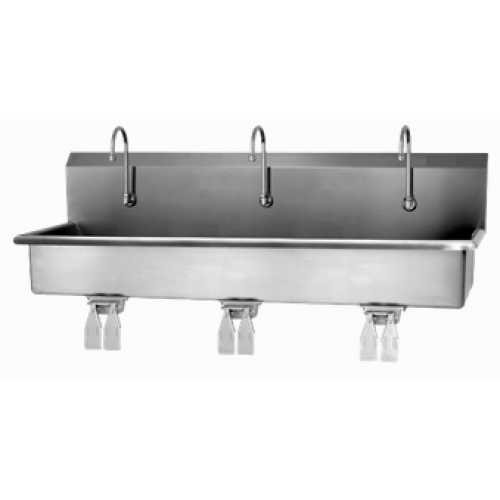 3 Person Wall Mount Sink with Double Knee Valve