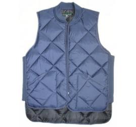 Freezer vest quilted zipper close blue