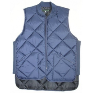 Freezer vest quilted zipper close blue